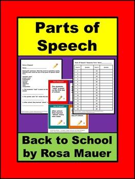 Parts of Speech Back to School Activities
