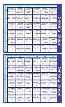 Parts of Speech Battleship Board Game