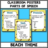 Parts of Speech Beach Theme Anchor Charts Posters