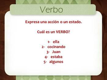 Parts of Speech - Bilingual, Spanish.
