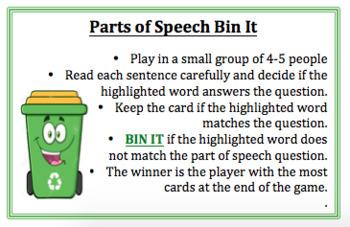 Parts of Speech Bin It Game