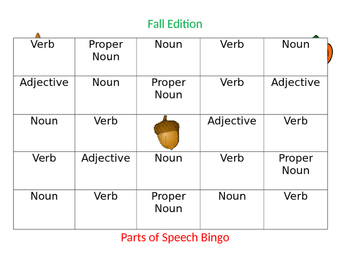 Parts of Speech Bingo-Fall Edition