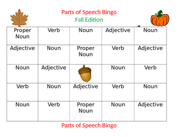Parts of Speech Bingo-Fall Edition