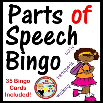 Parts of Speech Bingo - Classroom Activity w/ 35 Bingo Cards!