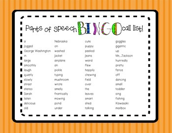 Parts of Speech Bingo Game!