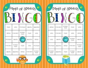 Parts of Speech Bingo Game!