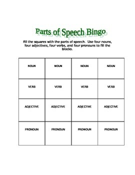 Parts of Speech Bingo Game