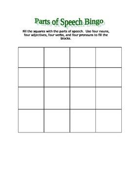 Parts of Speech Bingo Game