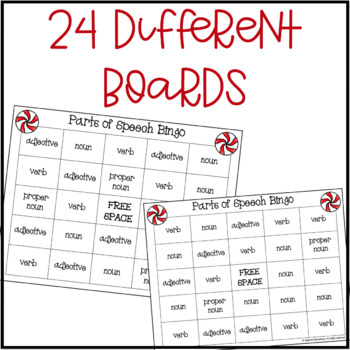 Parts of Speech Bingo: Holiday Edition