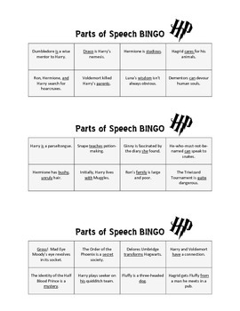 Parts of Speech Bingo: Literature Edition