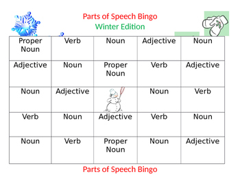 Parts of Speech Bingo--Winter Edition