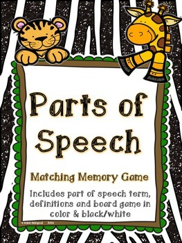 Parts of Speech Board Game - Jungle Theme