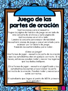 Parts of Speech Board Game {SPANISH}