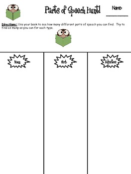Parts of Speech Book Hunt (Nouns, Verbs, & Adjectives)