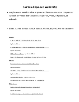 Parts of Speech: Booklet and Activities
