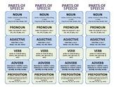 Parts of Speech Bookmark