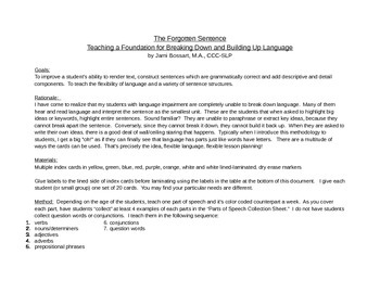 Sentence Building Cards: A system for breaking down and building up language.