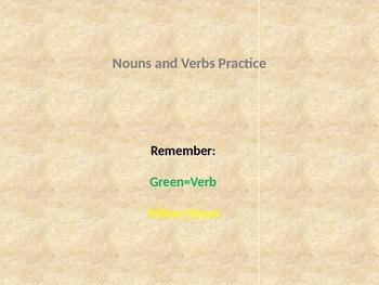 Parts of Speech Building Blocks Noun Verb Practice-Closed Set