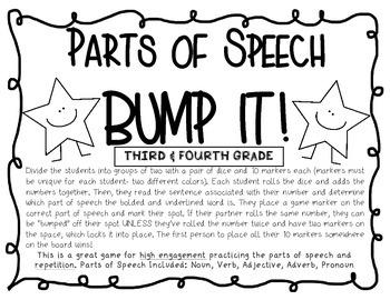 Parts of Speech Bump It Activity