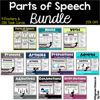 Parts of Speech - Posters and Task Cards Bundle