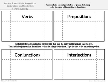 Parts of Speech Card Sort: Verbs, Prepositions, Conjunctions, and Interjections