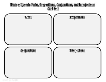 Parts of Speech Card Sort: Verbs, Prepositions ...