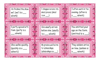 Parts of Speech Legal Size Text Card Game