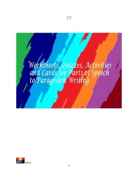 ESL: Activities, Cards and Worksheets for Parts of Speech to Paragraph Writing