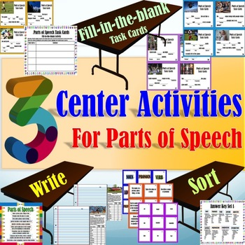 Parts of Speech Centers: Three Centers for all Nine Parts!