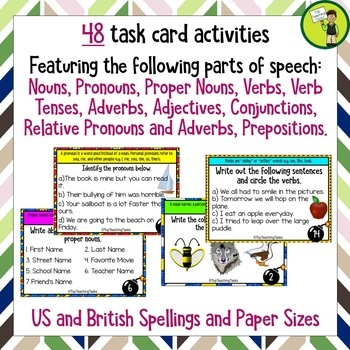 Parts of Speech Grammar Challenge Task Cards US and British Spellings