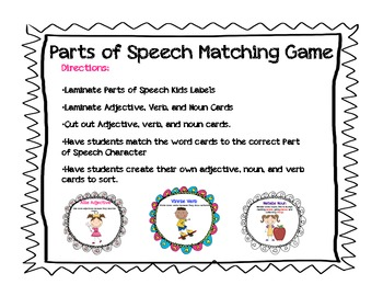 Parts of Speech Characters- Nouns, Verbs, Adjectives