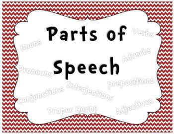 Parts of Speech Chevron Posters