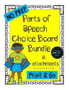 Print & Go Parts of Speech Choice Boards Bundle