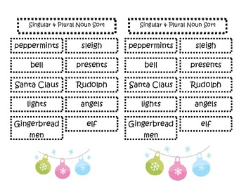 Parts of Speech Christmas Sort