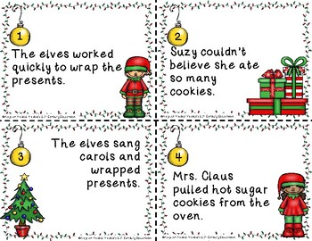 Parts of Speech Christmas Task Cards Scoot