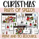 Parts of Speech Christmas Theme Nouns Verbs Adjectives