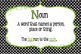Parts of Speech Classroom Posters in Black, Lime and White Polka Dots