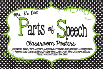 Parts of Speech Classroom Posters in Black, Lime and White