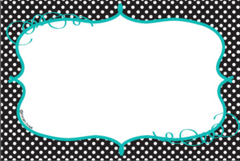 Parts of Speech Classroom Posters in Black, Teal and White Polka Dots