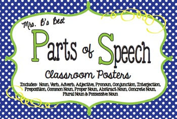 Parts of Speech Classroom Posters in Blue Polka Dot with Lime and Lemon Accents