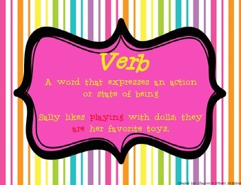 Parts of Speech Classroom Posters in Neon and Bright Colors