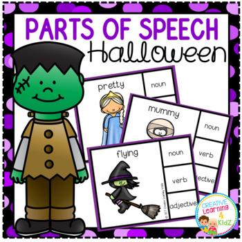 Parts of Speech Clip Cards: Halloween