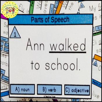 Parts of Speech Task Cards Nouns Verbs Adjectives