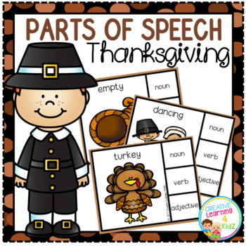 Parts of Speech Clip Cards: Thanksgiving