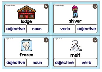 Nouns, Verbs, Adjectives - Parts of Speech Clip Cards - Winter Theme
