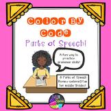 Parts of Speech Grammar Practice - Color By Code!