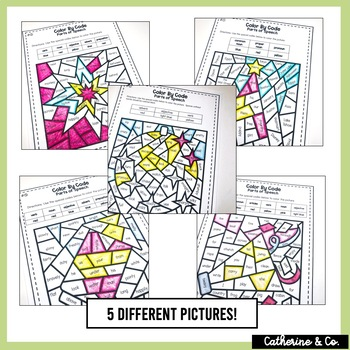 Parts of Speech | Color By Code New Year's Activity