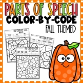 Parts of Speech Color-By-Number Fall Themed