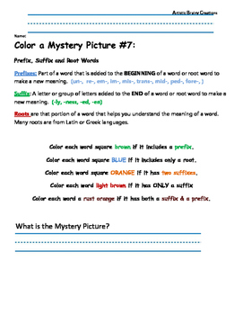 Parts of Speech: Color a Mystery Picture 7 (Prefixes, Suffixes, Roots)