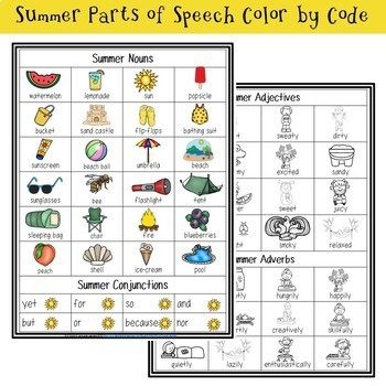 Parts of Speech Color by Code Growing Bundle